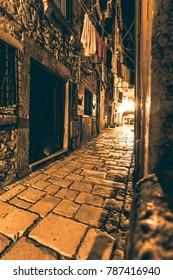 Small Cobblestone Alley in Rovinj at night