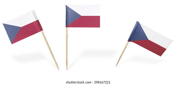Small cocktail flags of Czech Republic in different positions isolated on white.(series) . Also easy to use as a design element :)