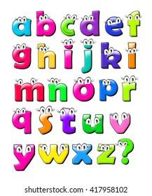 Small color alphabet. 3d illustration.
