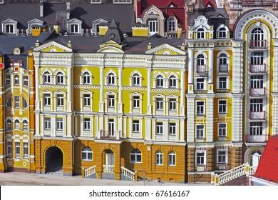 Small colored buildings in Kiev taken in Ukraine in summe