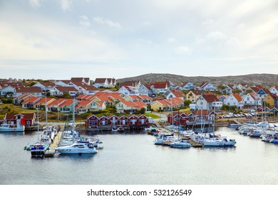 small colored houses in the Smogen village near the ocean front