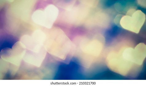 Small colorful hearth bokeh for valentine day love concept