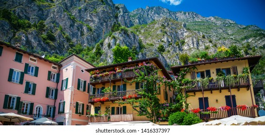 small colorful houses on a central square of Limone sul Garda, Lake Garda, Italy