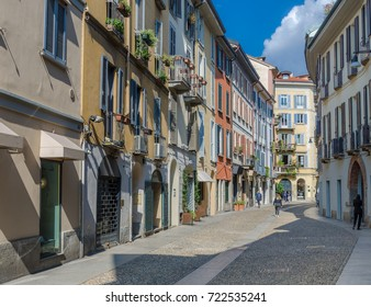 Small colourful street in the fashionable district of Brera in Milan, Lombardy, Italy