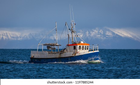 Small commercial cod fishing boat sailing near shore with snowy mountains in the background.