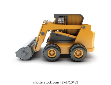 Small construction utility vehicle isolated on white
