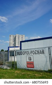 Small containers ofvthe Budopol-Poznan construction company close by apartment buildings on the Orla Bialego district on July 2017 in Poznan, Poland