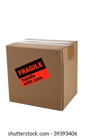 A small corrogated shipping box with a fragile sticker