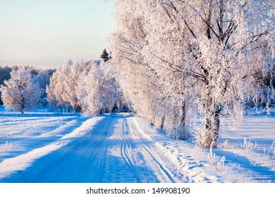 Small country road in winter on a sunny day