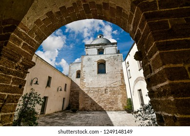 The small courtyard of the Church of St. Michele Arcangelo in the old town section of Brindisi, Italy, in the Puglia region