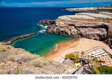 small cozy Abama beach on the west coast of Tenerife with banana plantations nearby, Canary islands, Spain