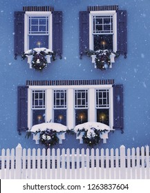 A small cozy house, windows decorated with Christmas wreaths and candles in the windows. USA. Maine. traditional celebration.