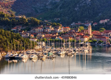 Small cozy town of Skradin on Krka river in a gentle morning light, the entrance to the Krka National Park, Dalmatia, Croatia