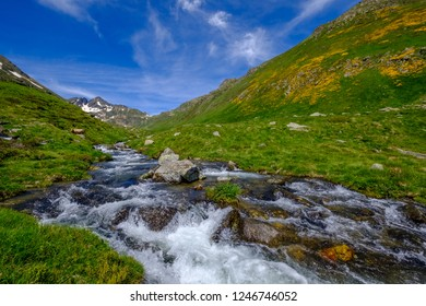 Small creek in the french Pyrenees mountains in summer near Aston in Ariege