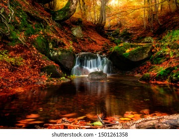 Small creek waterfall in a beautiful deciduous autumn forest. Bright autumn leaves on stones covered with moss by the river. Beautiful autumn landscape. Long exposure.
