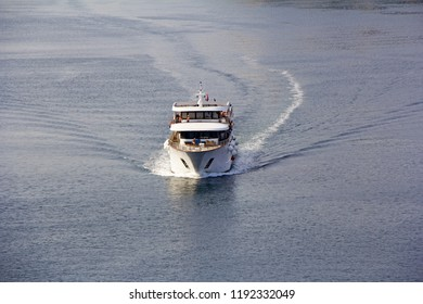 Small cruise ship sailing across the Adriatic Sea - Air photography