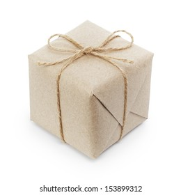 small cube box with string bow, isolated on white
