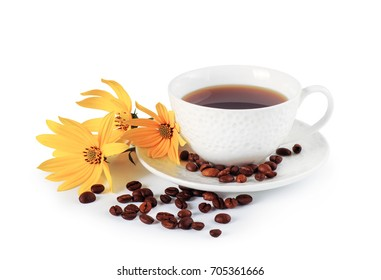 small cup of coffee and yellow flowers on a white background