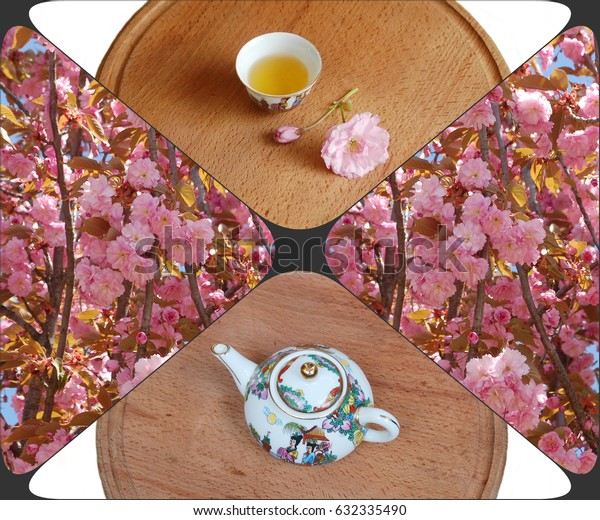 A small cup of tea, a teapot and flowers of Japanese cherries. collage