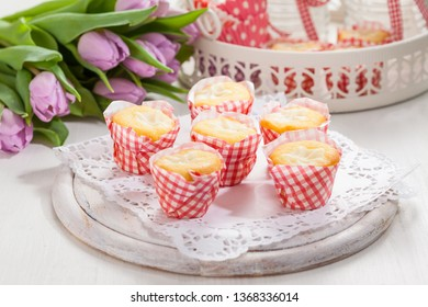 Small curd cheese muffins or cupcakes