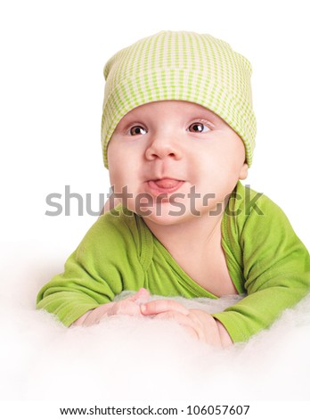 small cute baby boy showing his stock photo edit now 106057607