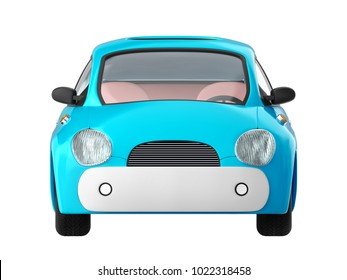 Small cute blue car front view isolated on white. 3d illustration