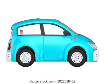 Small cute blue car side view isolated on white. 3d illustration