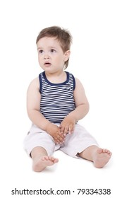 small cute boy is not happy on a white background