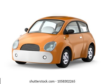 Small cute car isolated on white. 3d illustration