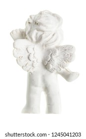 a small cute ceramic angel statuette isolated over a white background