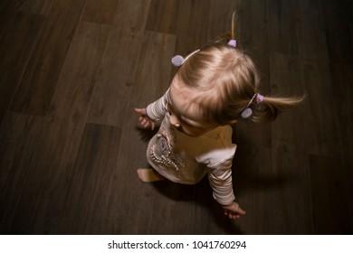 small cute girl with interestin hair design