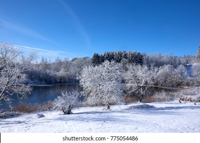 Small danish lake in a winter landscape with snow covered tree branches and untouched snow on the ground