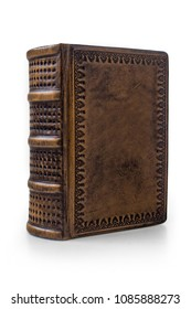 Small, dark brown leather book with black paper edges captured isolated from the left side standing to the table