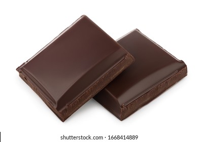 Small dark chocolate pieces isolated on white background with clipping path