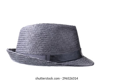 Small dark gray hat isolated on a white background