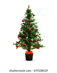 Small decorated christmas tree isolated