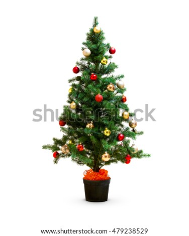 small decorated christmas tree isolated - Small Decorated Christmas Trees