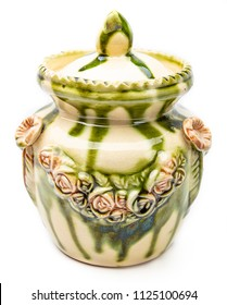 small decorative ornamental clay pot with flower ornament