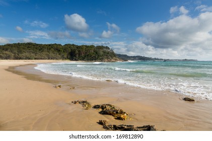 Small deserted beach north of Coffs Harbour in New South Wales Australia