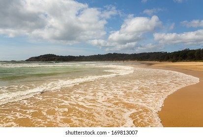 Small deserted Diggers beach north of Coffs Harbour in New South Wales Australia