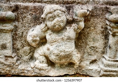 A small detail of a man carved into stone from a frieze on the outside of the Vatadage dagoba has been eroded over centuries by the rain in the ancient city of Polonnaruwa in Sri Lanka.