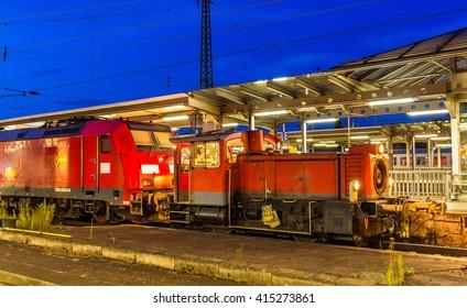 Small diesel shunter at Offenburg railway station. Germany - Baden-Wurttemberg