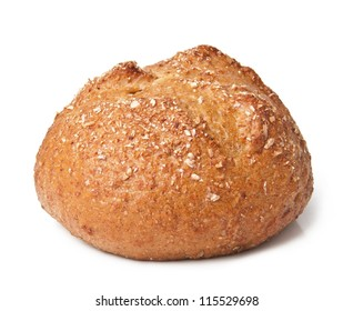 Small dietary grain bun with bran isolated on a white background