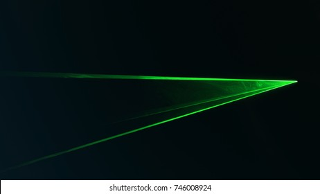 Small disc green laser with triangular shape. Seen from the side