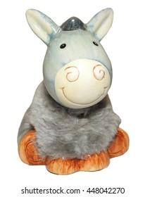 Small donkey toy isolated on white background.