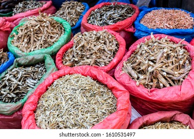 Small dried fish in bags at a street market in Kathmandu, Nepal. Stockfish used in asian cuisine