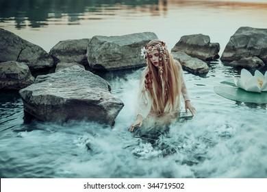 small -eared fairy sits surrounded by fantastic fairy lilies on the lake, fantastic shot from the water , fairy-tale image fashion creative color toning