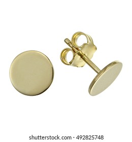 Small earrings on white background.