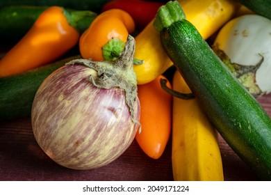 une petite aubergine en gros plan au milieu de petits légumes du potager