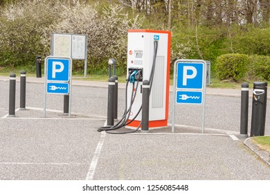Small electric car charging station in Denmark